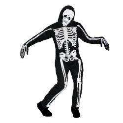 Costume Uomo Scheletro Fantasma Vestito Halloween Carnevale - Pegasus
