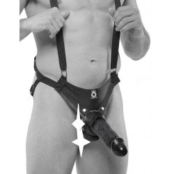 "Fallo Indossabile Nero Strap on con Bretelle Dildo 10"" King Cock Suspender System Pipedream"