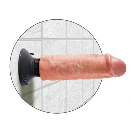"""Vibratore Realistico King Cock 6"""" Flesh con Ventosa Rimovibile"""