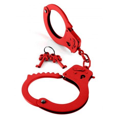 Manette in Metallo Rosse con Doppia Chiave Pipedream Designer Metal Cuffs Red