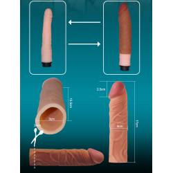 Guaina Fallica Prolunga Pene Realistica, Indossabile, Condom Silicone Stimolante